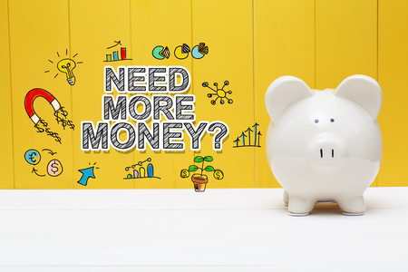 Need More Money text with piggy bank over yellow wall