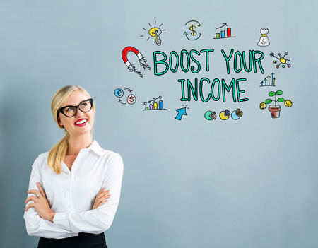 Boost Your Income text with business woman on a gray background