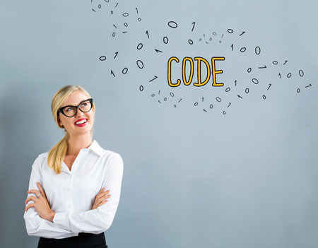 Code text with business woman on a gray background