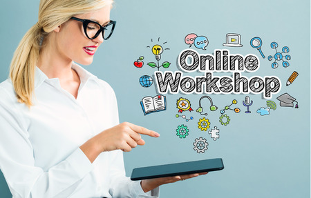 woman tablet: Online Workshop text with business woman using a tablet
