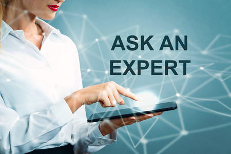 Ask An Expert text with business woman using a tablet