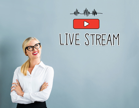 live stream tv: Live Stream text with business woman on a gray background