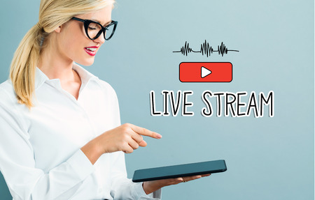 woman tablet: Live Stream text with business woman using a tablet