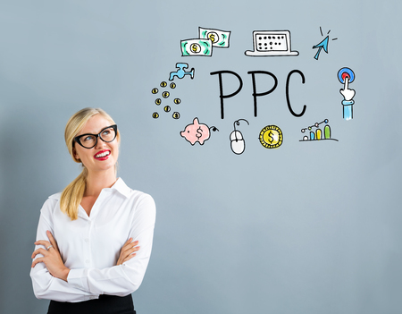 PPC text with business woman on a gray background