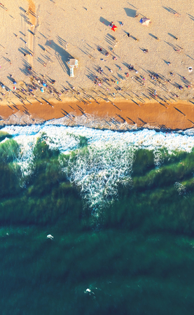 shore: Aerial view of the beach in Santa Monica, CA