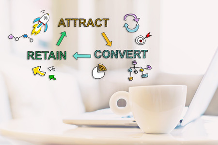 Attract Convert Retain concept with a cup of coffee and a laptop