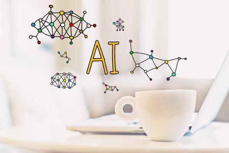 AI concept with a cup of coffee and a laptop