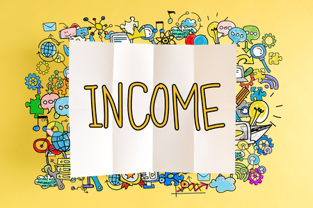 Income text with colorful illustrations on a yellow background
