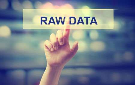 information point: Raw Data concept with hand pressing a button