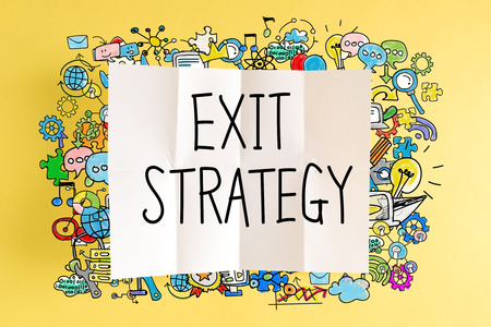 downsizing: Exit Strategy text with colorful illustrations on a yellow background