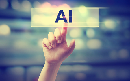 AI concept with hand pressing a button
