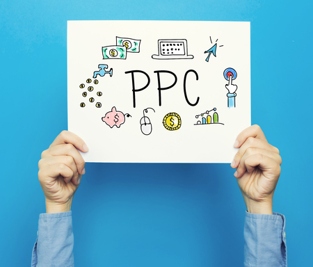 PPC text on a white poster on a blue background Stok Fotoğraf