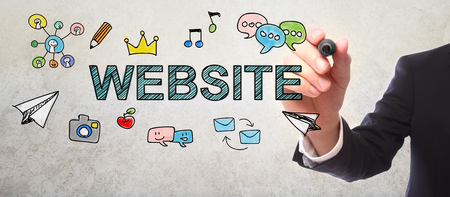 Businessman drawing Website concept with a marker Stock Photo