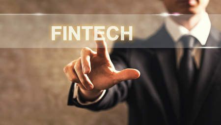information point: Fintech text with businessman on dark vintage background