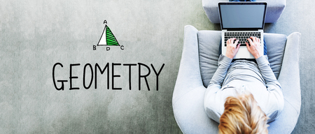 Geometry text with man using a laptop