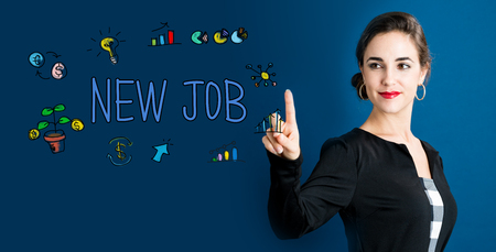 small business woman: New Job text with business woman on a dark blue background Stock Photo