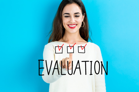 Evaluation text with young woman on a blue background