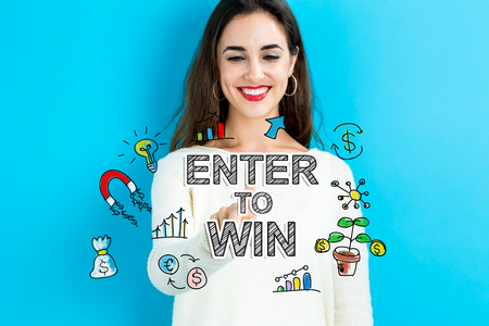 Enter to Win text with young woman on a blue background