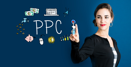 PPC text with business woman on a dark blue background