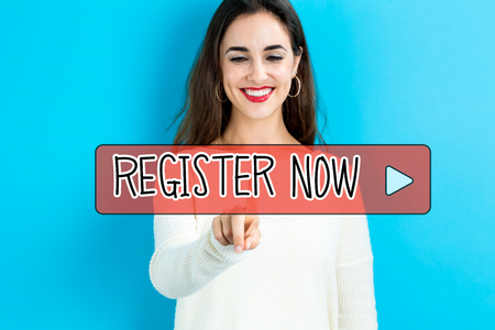 Register Now text with young woman on a blue background