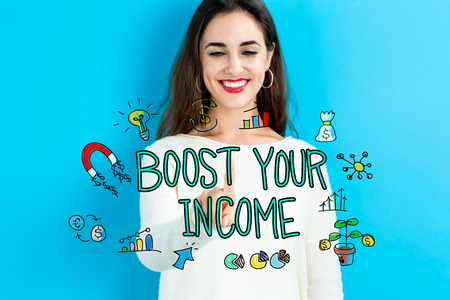 Boost Your Income text with young woman on a blue background 版權商用圖片