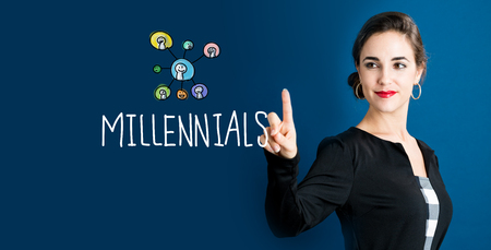 Millennials text with business woman on a dark blue background Stock Photo