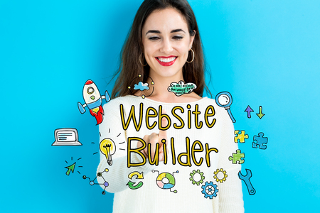 Website Builder text with young woman on a blue background