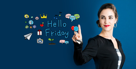 Hello Friday text with business woman on a dark blue background