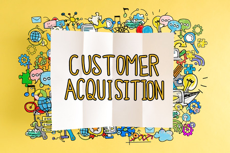 Customer Acuisition text with colorful illustrations on a yellow background