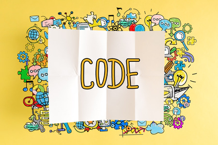 Code text with colorful illustrations on a yellow background