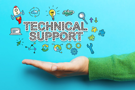 green issue: Technical Support concept with hand on blue background