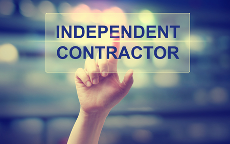 Independent Contractor concept with hand pressing a button