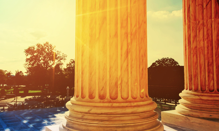 The marble columns of the Supreme Court of the United States in Washington DC Stock Photo - 75506578