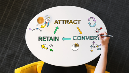 Attract Convert Retain text on a white table with person?s hand