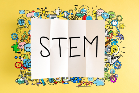 yellow stem: STEM text with colorful illustrations on a yellow background