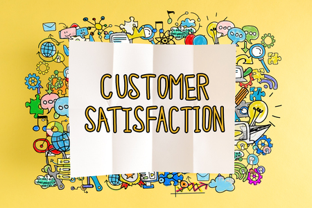 Customer Satisfaction text with colorful illustrations on a yellow background