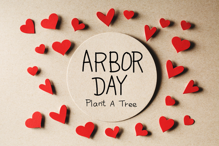 Arbor Day message with handmade small paper hearts Stock Photo