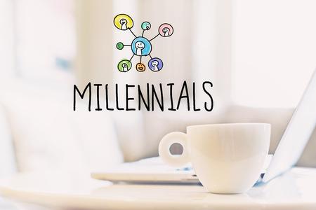 Millennials concept met een kopje koffie en een laptop