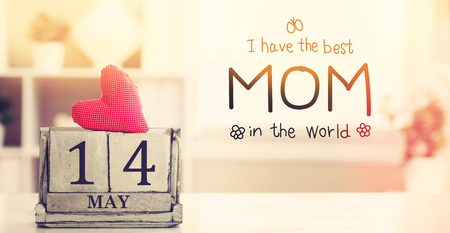 Mothers Day message with wooden block calendar