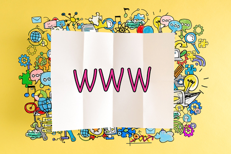 WWW text with colorful illustrations on a yellow background