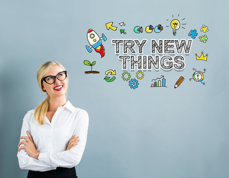 Try New Things text with business woman on a gray background