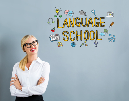 Language School text with business woman on a gray background