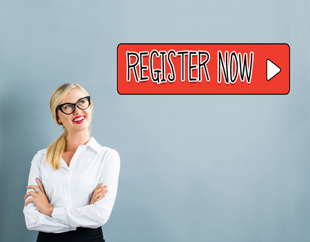 Register Now text with business woman on a gray background