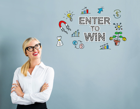 Enter to Win text with business woman on a gray background