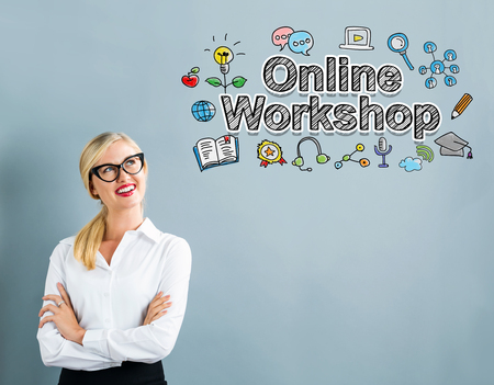 Online Workshop text with business woman on a gray background