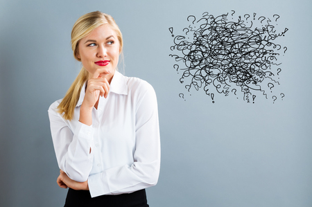 Doodle with young business woman in a thoughtful pose Stock Photo