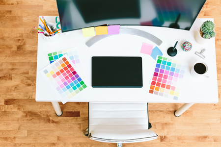 Working desk for Graphic designer with monitor and pen tablet Stock Photo
