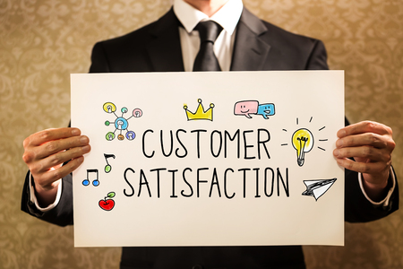 Customer Satisfaction text with businessman holding a sign board