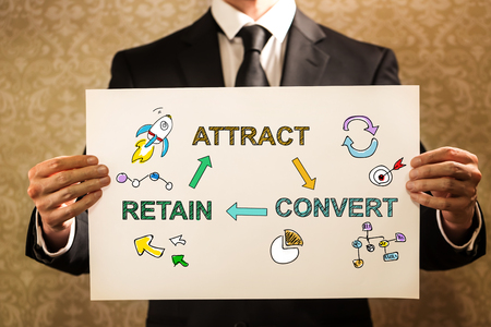 Attract Convert Retain text with businessman holding a sign board