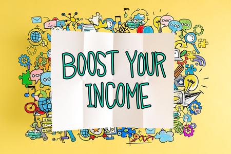 黄色の背景にカラフルなイラストと、所得本文を後押し